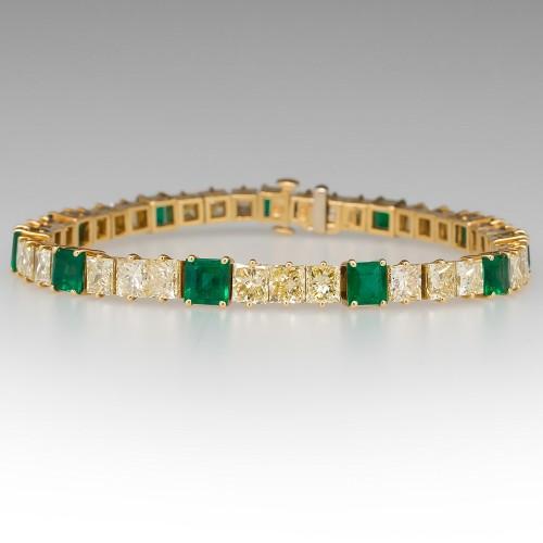 13 Carat Fancy Light Yellow Diamond & Green Emerald Tennis Bracelet 18K