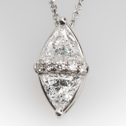 Unique Triangle Diamond Pendant Necklace Platinum w/ 14K Chain