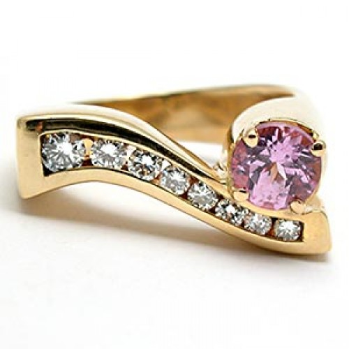 Natural Pink Sapphire & Diamond Ring 14K Gold - Seattle FORCE Raffle