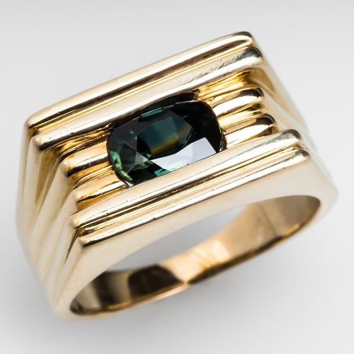 Mens Green Sapphire Ring