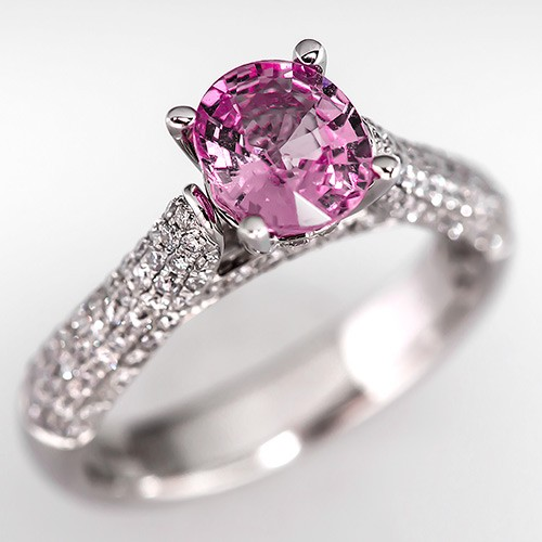 Simon G Pink Sapphire Engagement Ring