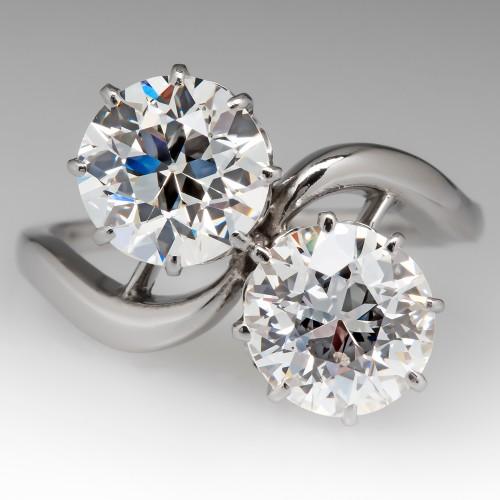 Old European Cut Diamond Toi Et Moi Ring