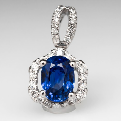 Oval Sapphire Diamond Pendant