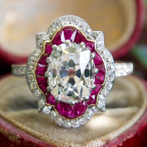 Magnificent 2.4 Carat Old Mine Cut Diamond Ring w/ Rubies