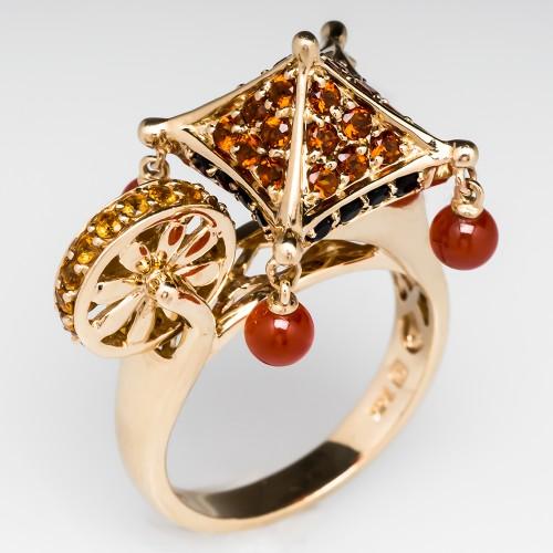 Citrine & Onyx Pagoda Ring