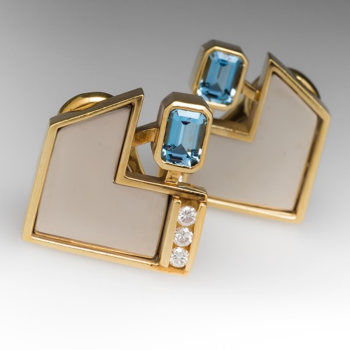 Vintage Aquamarine Diamond Earrings 18K Gold