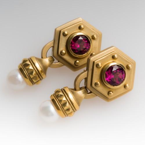 Sam Lehr Rhodolite Garnet & Saltwater Pearl Dangle Earrings