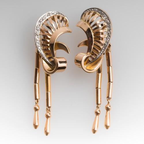 1940's Retro Diamond Dangle Earrings 18K