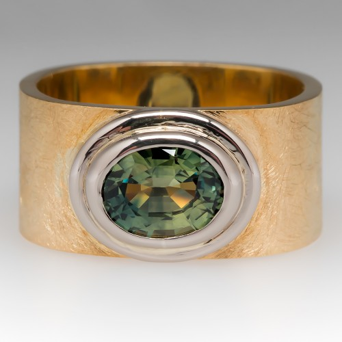 Karin Tremonti Mens Green Sapphire Wide Band 18K Yellow Gold Ring