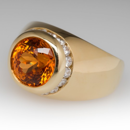 Mens 7 Carat Portuguese Cut Spessartine Mandarin Garnet & Diamond Ring