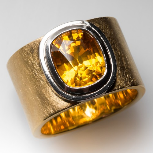 Karin Tremonti Mens 6 Carat Yellow Sapphire 18K Gold Ring