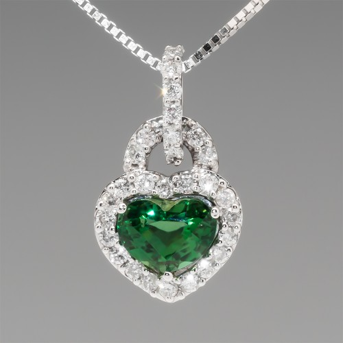Green Chrome Tourmaline & Diamond Halo Heart Pendant Necklace
