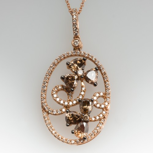 Carlo Viani Fancy Brown Diamond Floral Pendant Necklace 14K Rose Gold