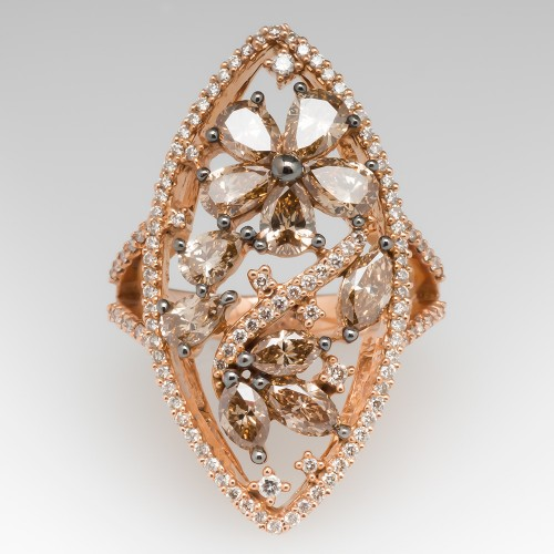 Carlo Viani Navette Diamond Cocktail Ring 14K Rose Gold