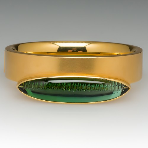 Munsteiner Cut Green Tourmaline Bracelet 18K Gold Bangle