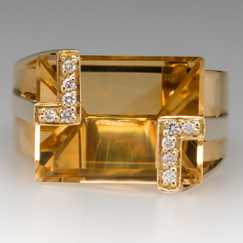 Fancy Cut Citrine Unique Cocktail Ring 18K Yellow Gold