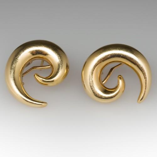 Large Swirl Earrings 18K Yellow Gold