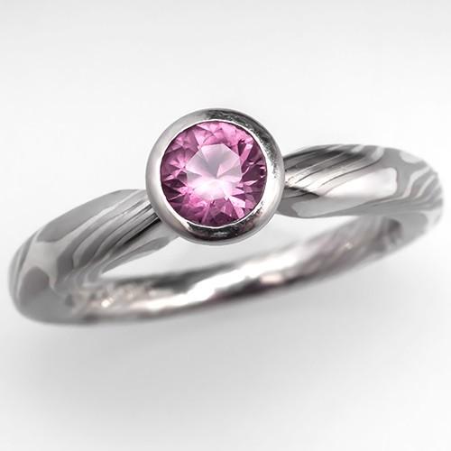 Mokume Gane Pink Sapphire Engagement Ring