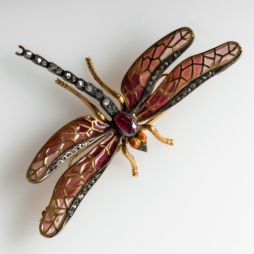 Plique A Jour Dragonfly Brooch