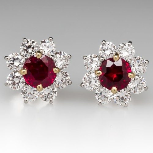 Magnificent Red Ruby & Diamond Halo Earrings Platinum