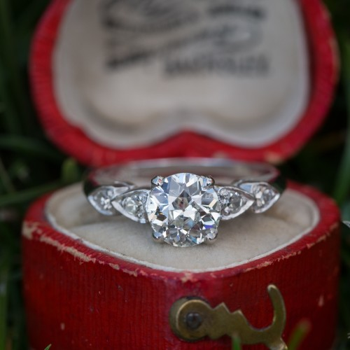 Beautiful 1930's Old European Cut Diamond Platinum Ring Platinum
