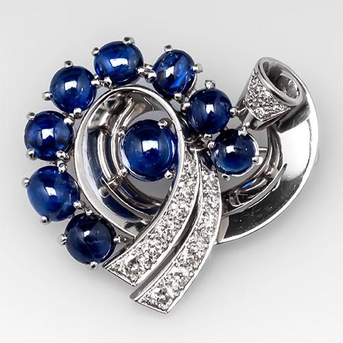 Vintage Blue Sapphire & Diamond Brooch Pin