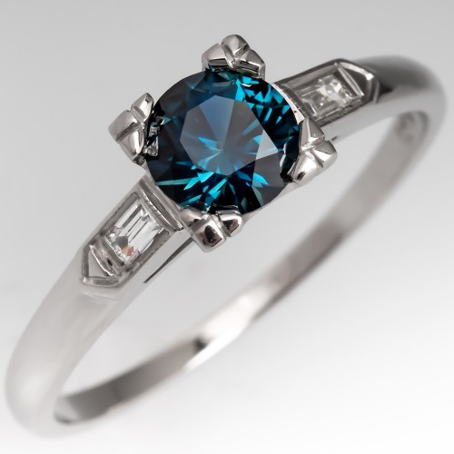 Blue Green Sapphire Engagement Rings