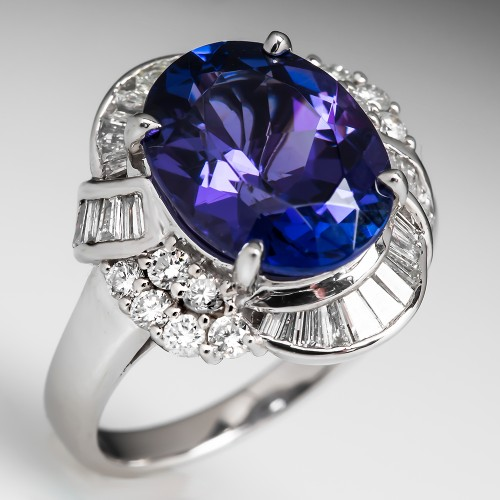 Tanzanite Diamond Platinum Cocktail Ring