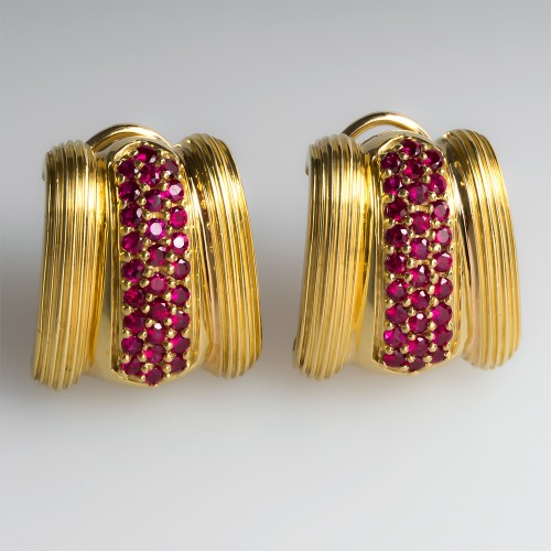 Vintage Ruby Huggie Earrings