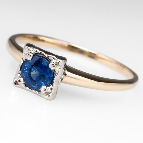 Vintage Blue Sapphire Squared Engagement Ring