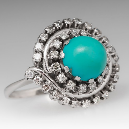 Vintage Turquoise Diamond Cocktail Ring