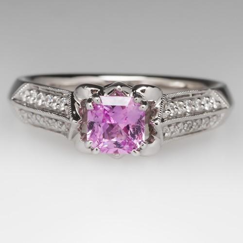 .66 Carat Pink Sapphire Diamond Ring W/ Fleur-De-Lis Design