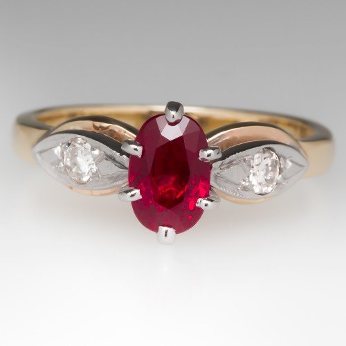 Vintage Ruby Two-Tone Gold Ring
