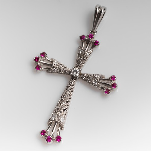 Genuine Ruby & Diamond Cross Pendant 18K White Gold