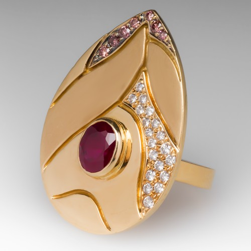 Tenthio Created Ruby & Diamond Cocktail Ring 18K Gold