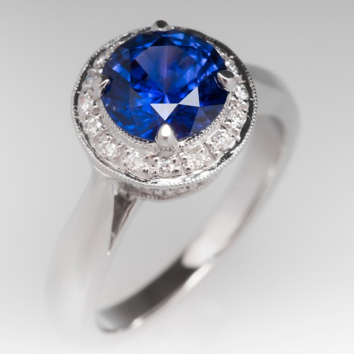 Color Change Sapphire Diamond Halo Engagement Ring