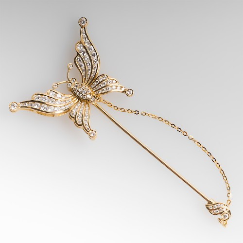 18K Diamond Butterfly Convertible Pin / Earrings