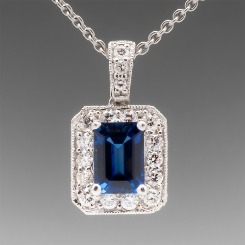 Spark Emerald Cut Sapphire Diamond Halo Pendant Necklace 18K