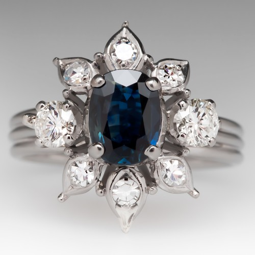 Vintage Retro Blue Sapphire Diamond Starburst Cocktail Ring