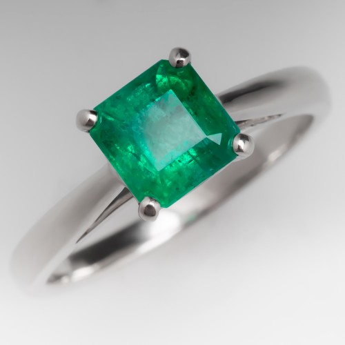 .99 Carat Natural Square Emerald Solitaire Platinum Ring