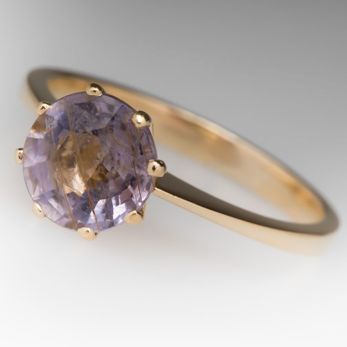 1.5 Carat Violetish Pink Tourmaline Solitaire Ring 18K