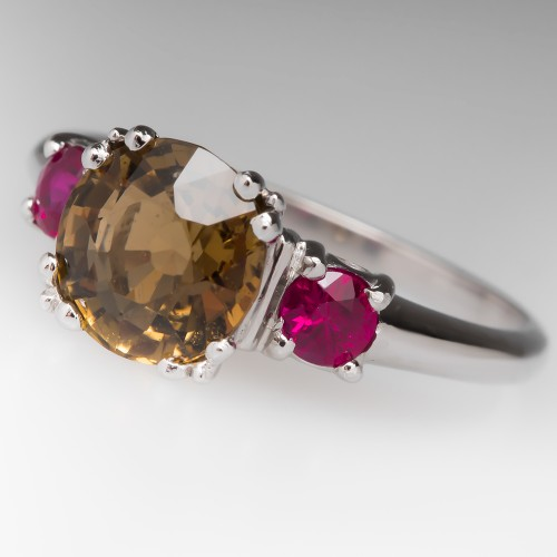 Natural Tourmaline & Ruby Ring in Platinum