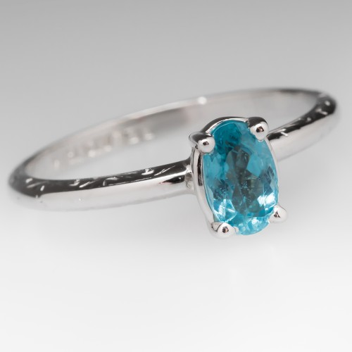 Paraiba Colored Tourmaline Solitaire Vintage Belais Ring
