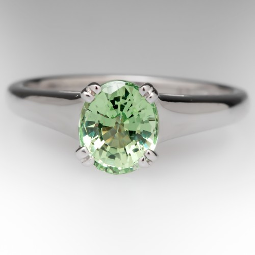 1.2 Carat Demantoid Garnet Platinum Solitaire Ring