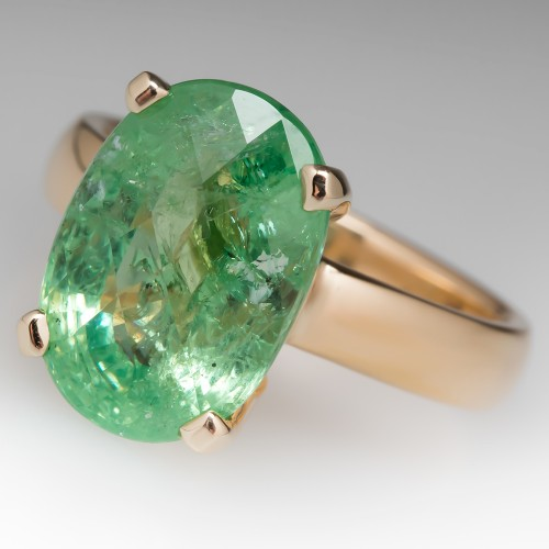 9.9 Carat Yellowish Green Grossularite Garnet Cocktail Ring 18K Jabel