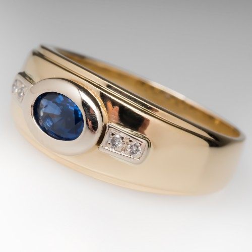 Estate Wide Band Blue Sapphire Diamond Ring 18K