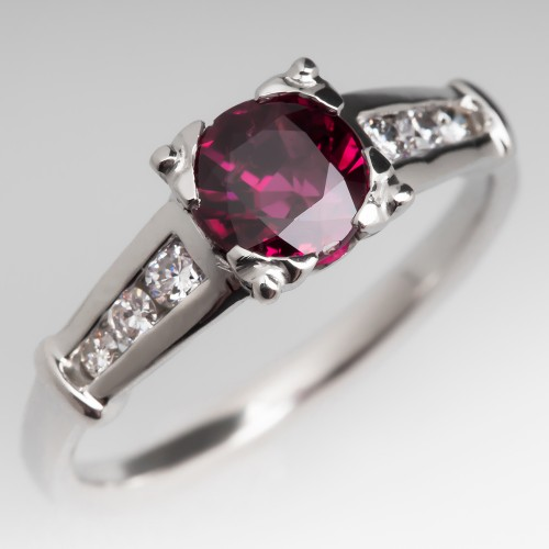 1.5 Carat Purplish Ruby Ring w/ Diamond Accents Platinum