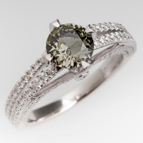 1 Carat No Heat Green Sapphire Ring Platinum