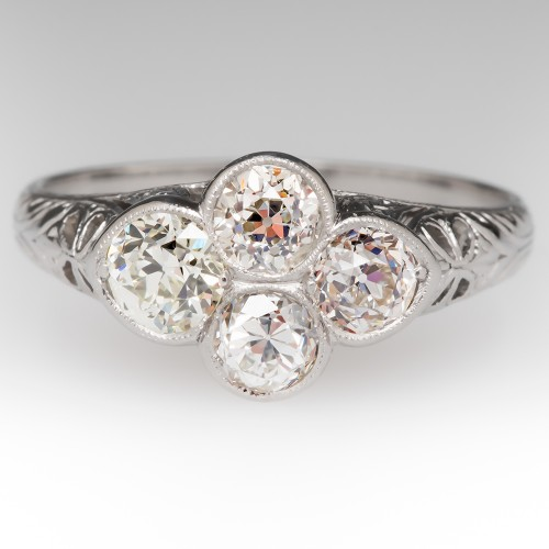 1920's Old Platinum 4 Diamond Filigree Ring