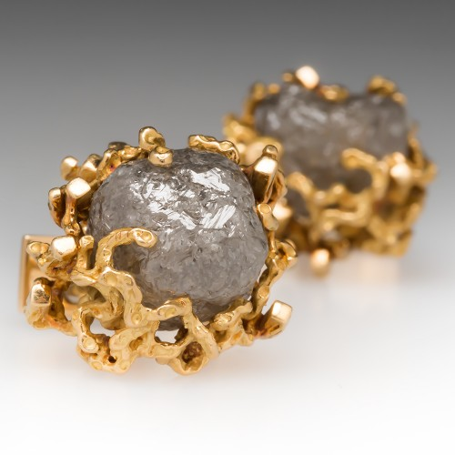 46 Carat Vintage Nugget Motif Raw Diamond Cufflinks 18K